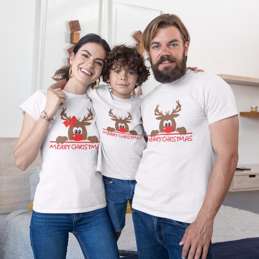 Set de Crăciun pentru familie pe alb Merry Christmas Hiding Deer
