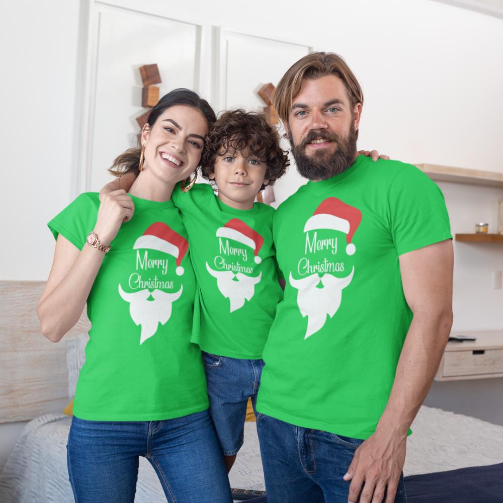 Set de Crăciun pentru familie pe verde  Merry Christmas Beard