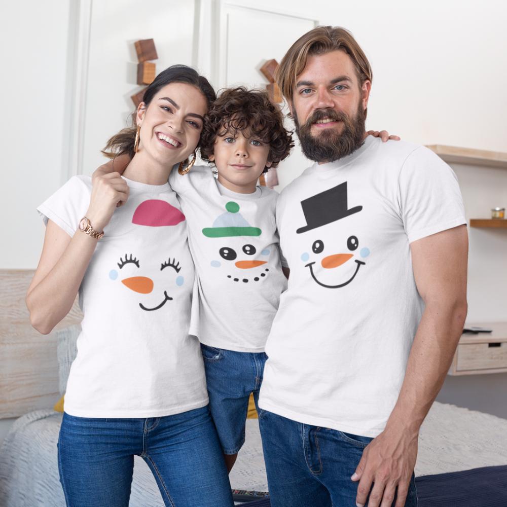 Set de Crăciun pentru familie pe alb Merry Christmas Happy Family