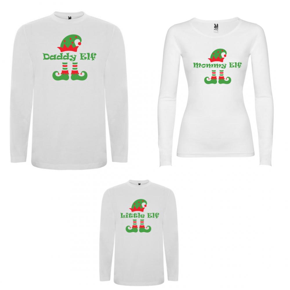 Set tricouri de familie cu maneca lunga pe alb sau negru ELF Family