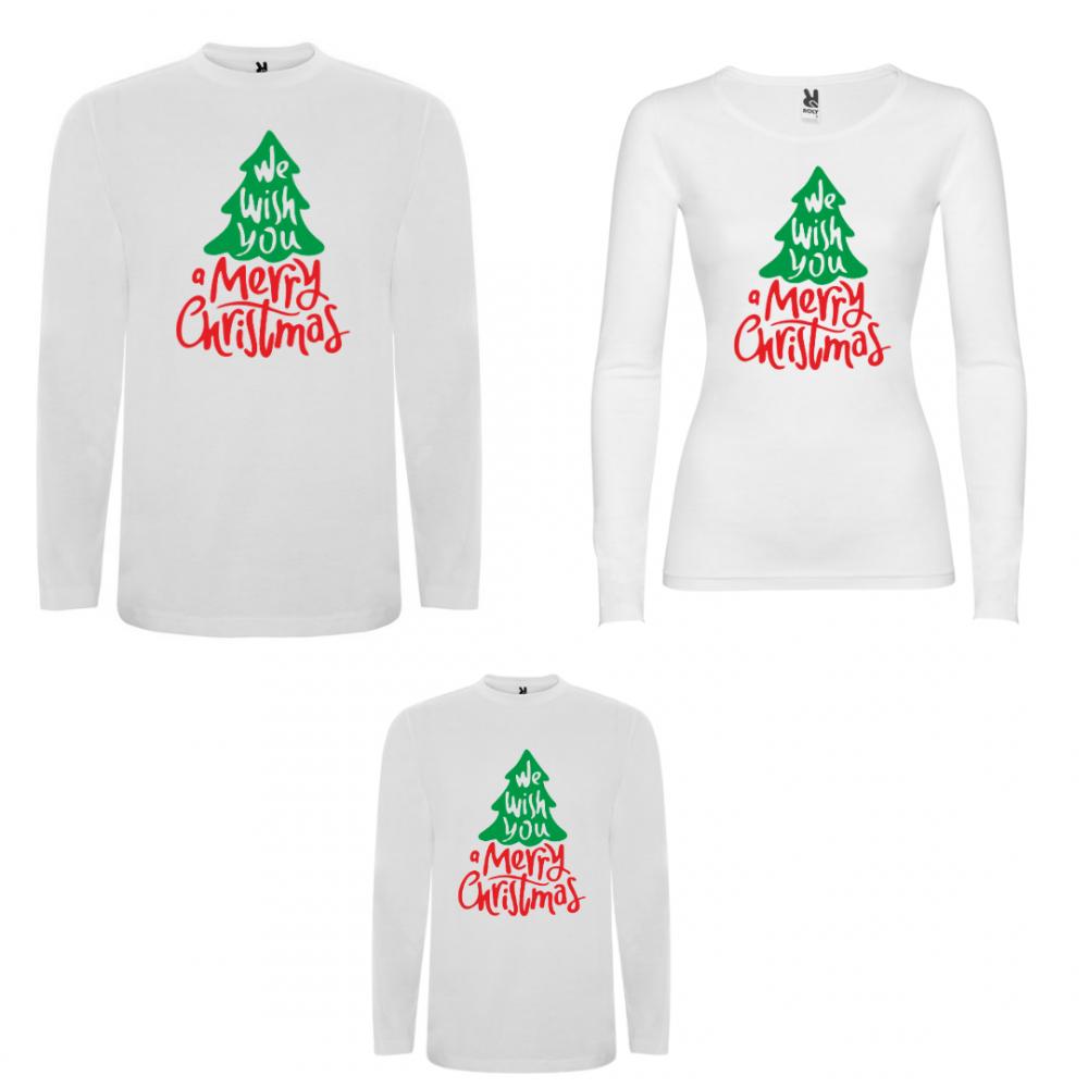 Set tricouri de familie cu maneca lunga pe alb sau negru We wish you a Merry Christmas