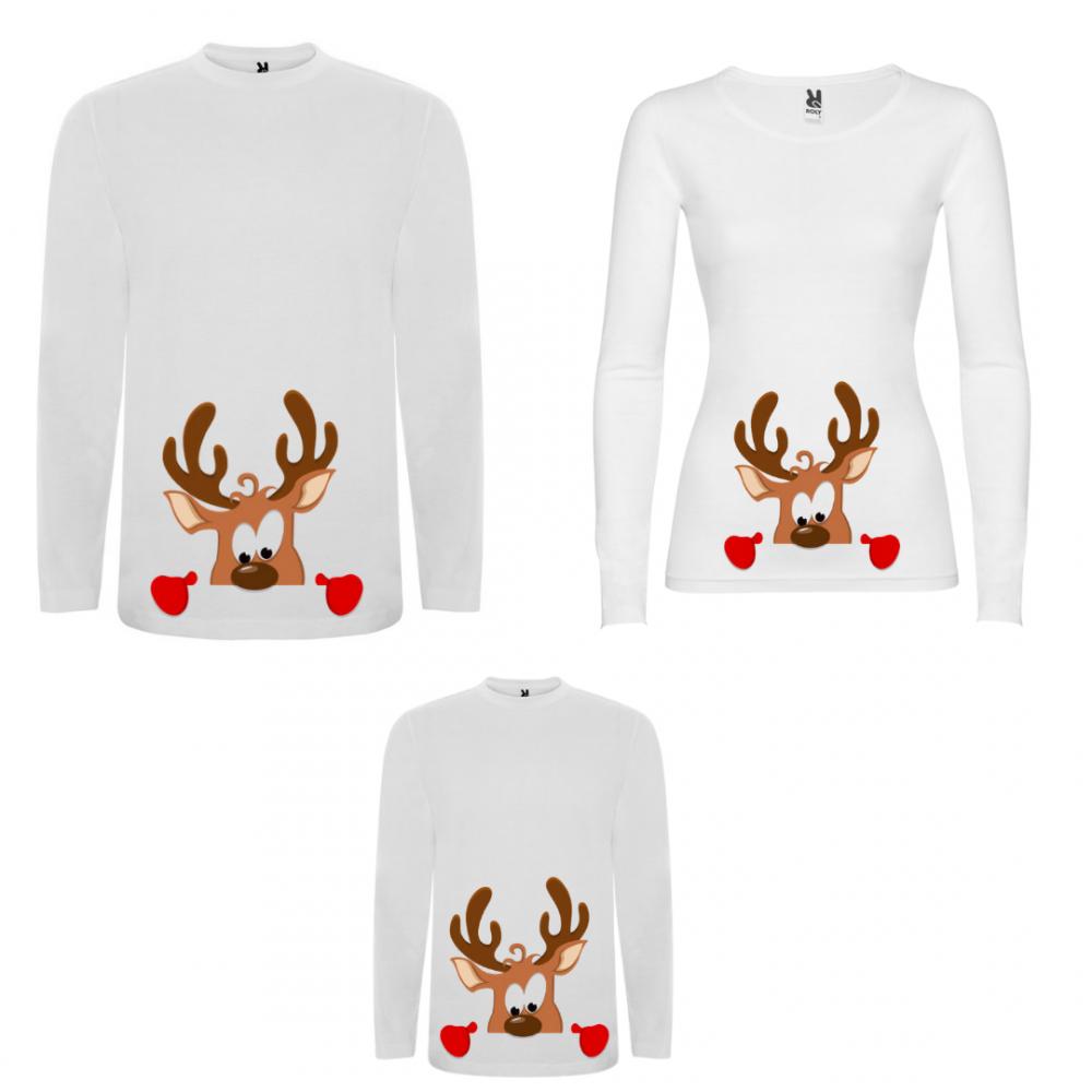 Set tricouri de familie cu maneca lunga pe alb sau negru Curious Deer Family