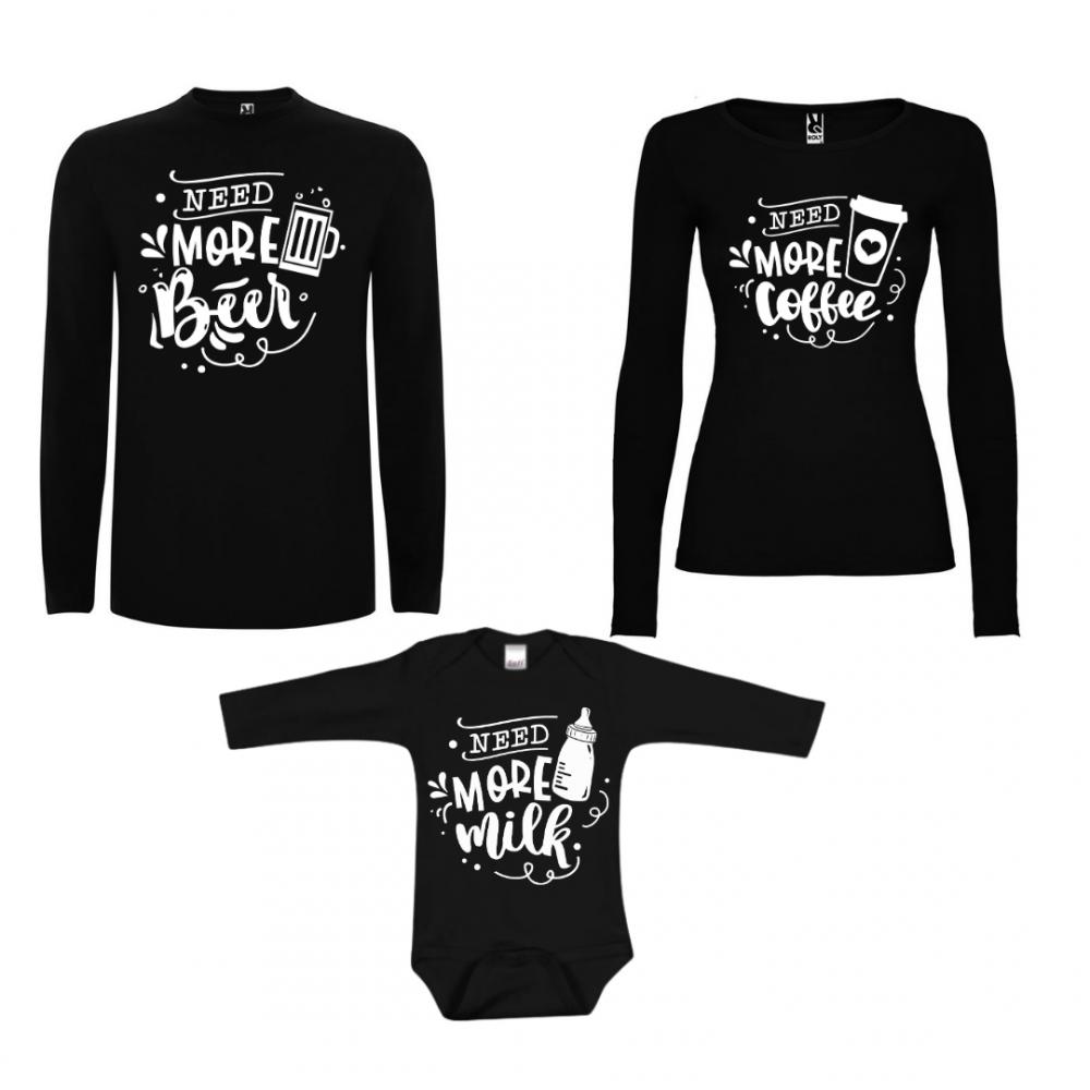 Set tricouri de familie cu maneca lunga pe negru Family Needs