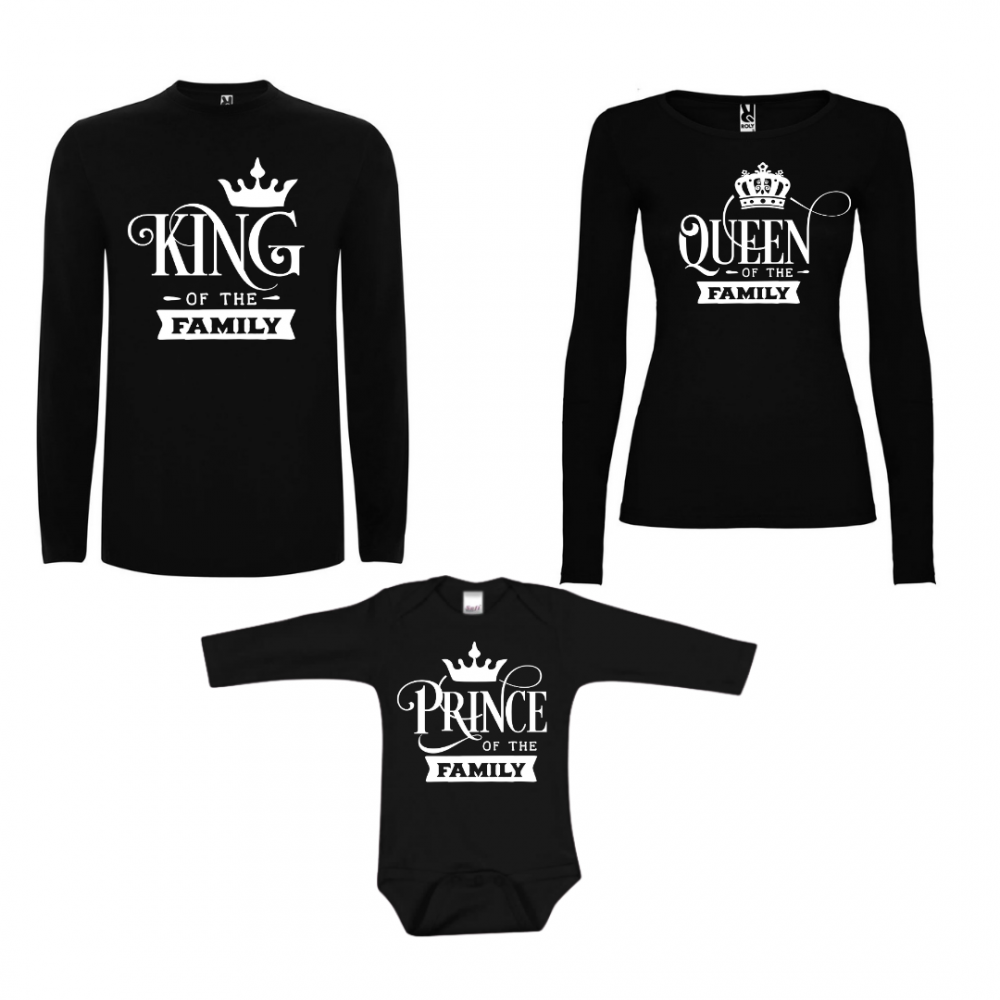 Set tricouri de familie cu maneca lunga pe negru Prince of the Family
