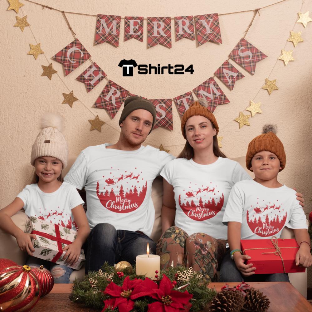 Set pentru familie pe alb Merry Christmas Night Ride