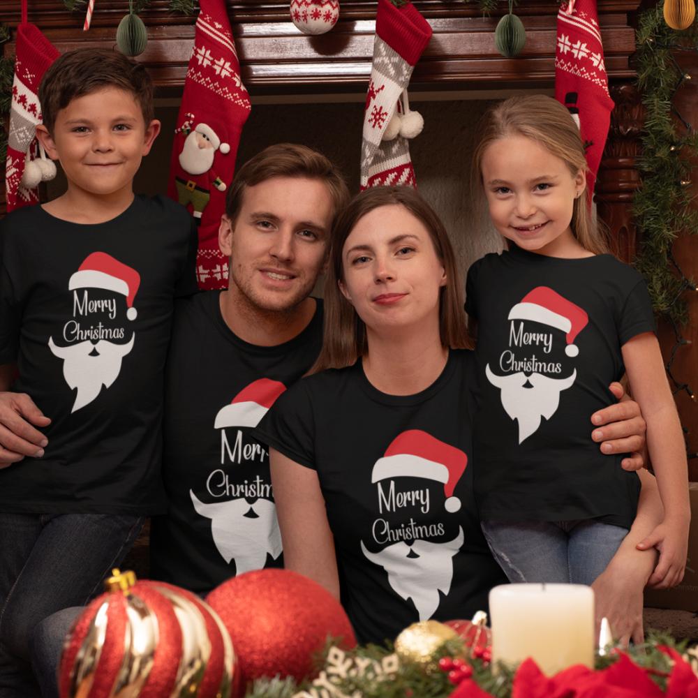 Set pentru familie pe negru Merry Christmas Beard