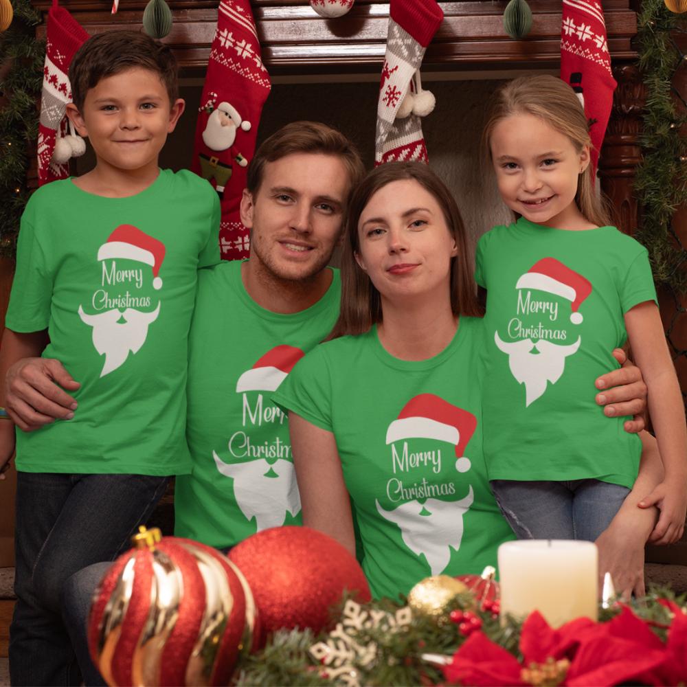 Set pentru familie pe verde Merry Christmas Beard