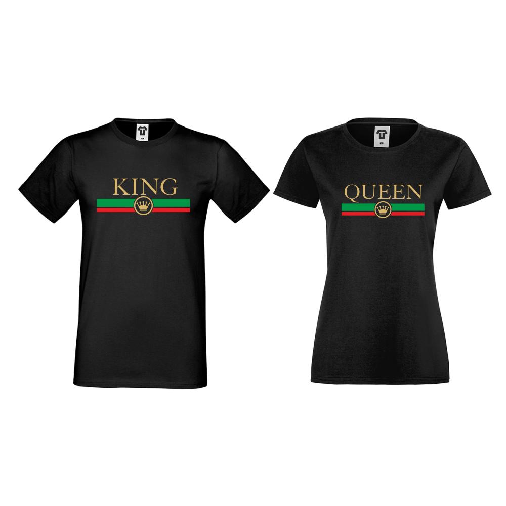Tricouri pentru cuplu pe negru King - Queen RG