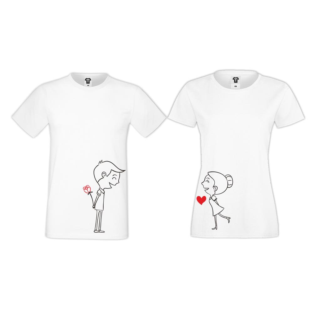 Tricouri pentru cuplu pe alb Boy and Girl
