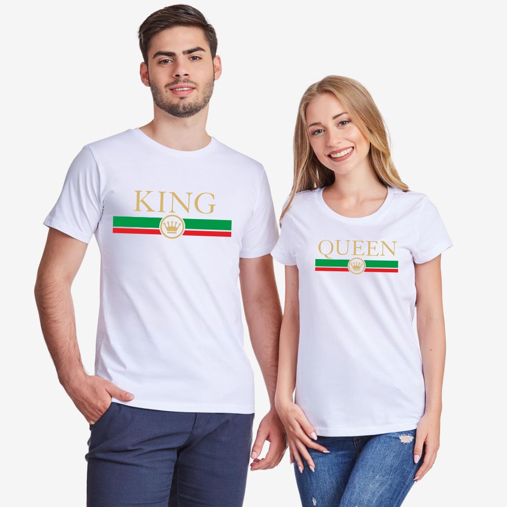 Tricouri pentru cuplu pe alb King - Queen RG