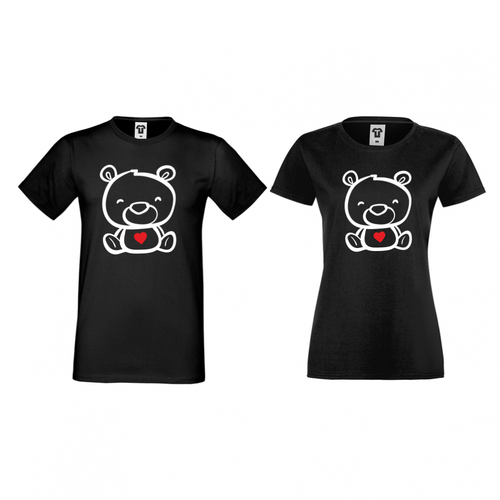 Tricouri pentru cuplu pe negru Bears