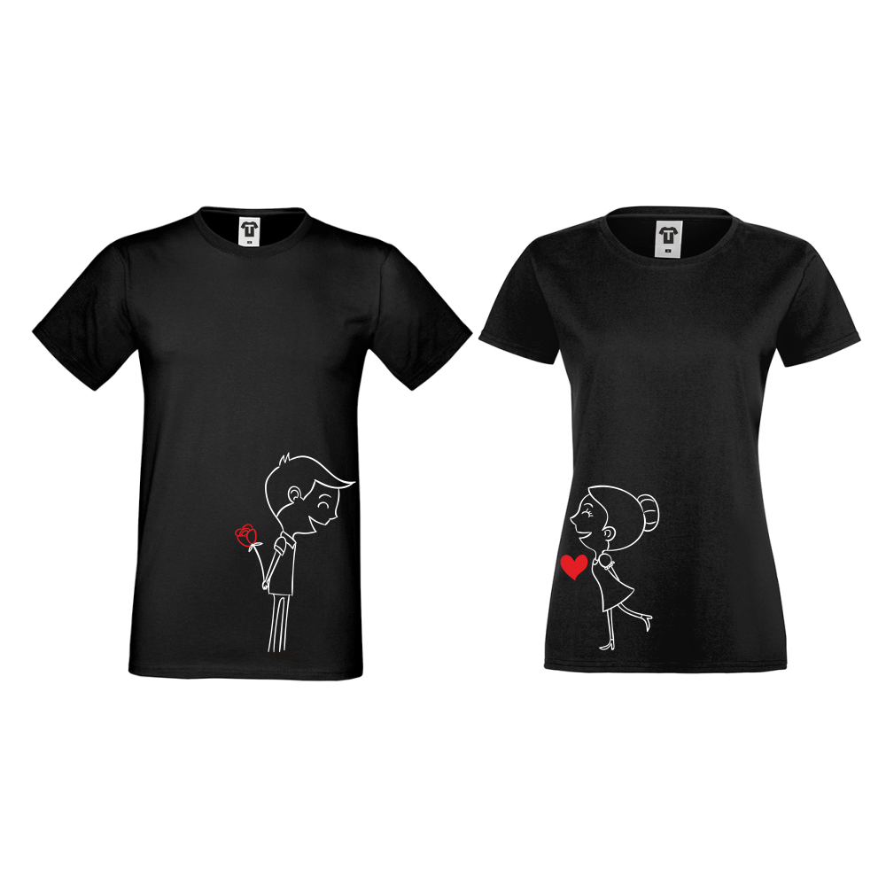 Tricouri pentru cuplu pe negru Boy And Girl