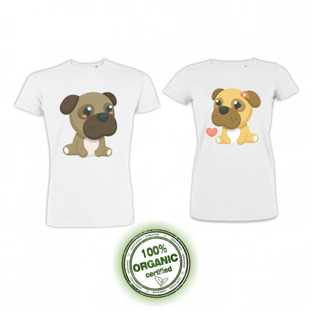 Tricouri pentru cupluri din bumbac organic pe alb Dogs