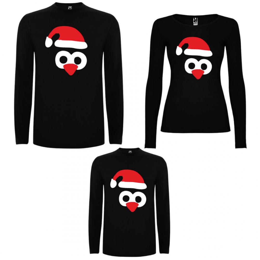 Set tricouri de familie cu maneca lunga pe negru Penguin Hats