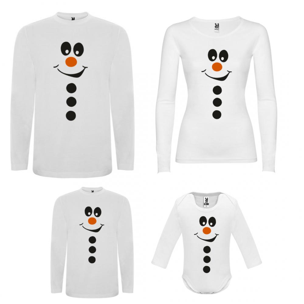 Set tricouri de familie cu maneca lunga pe alb Smiling Showman