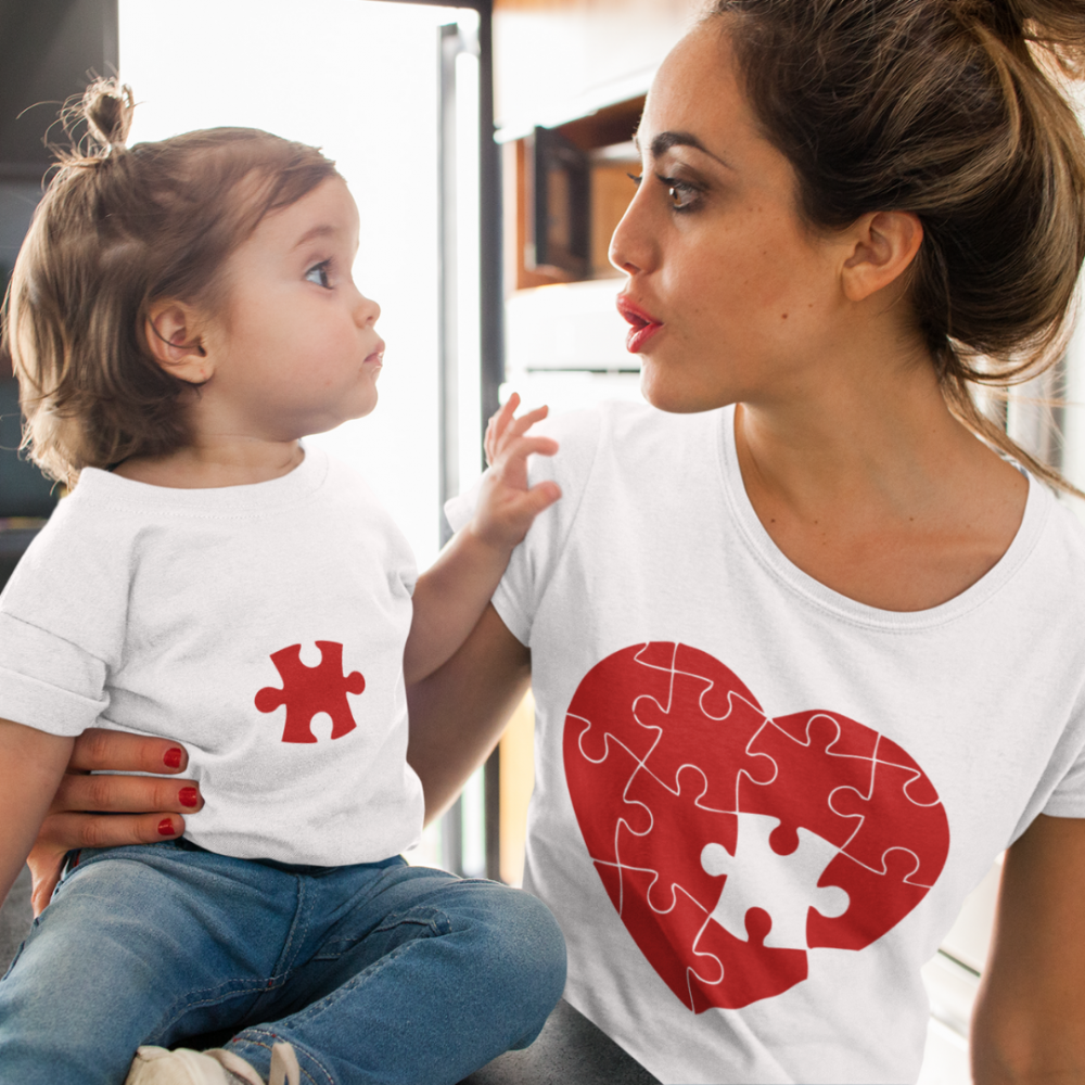 Tricouri pentru părinte și copil Puzzle Hearts