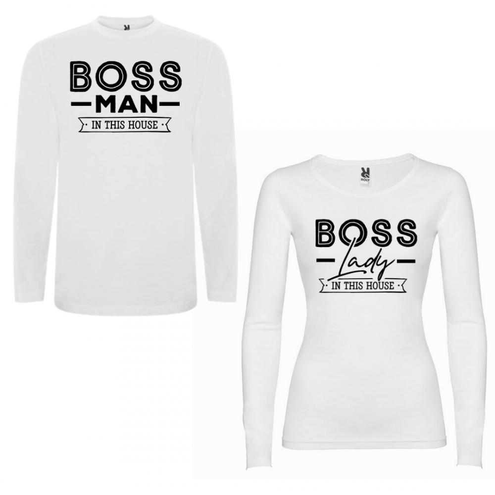 Tricou cu mâneci lungi pentru cupluri Boss Man Boss Lady