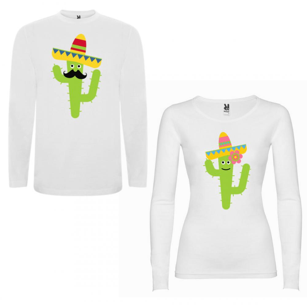 Tricou cu mâneci lungi pentru cupluri Cactus Couple