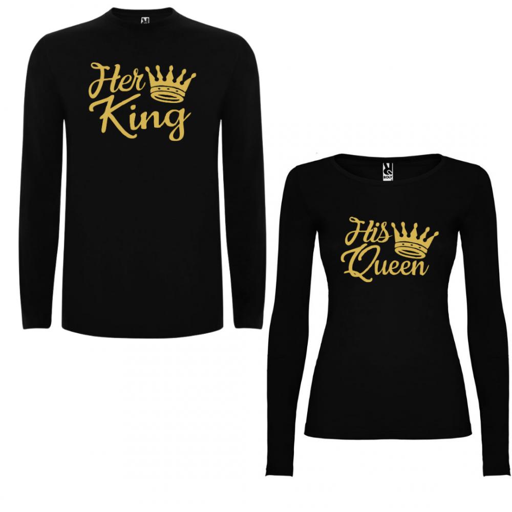 Tricou cu mâneci lungi pentru cupluri Her King - His Queen