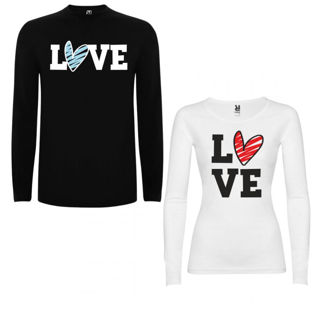 Tricou cu mâneci lungi pentru cupluri LOVE Colored