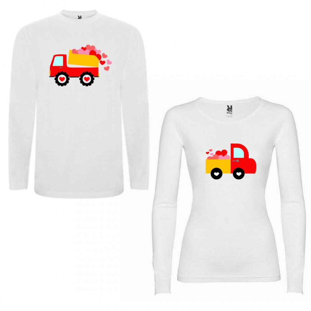 Tricou cu mâneci lungi pentru cupluri Love Trucks