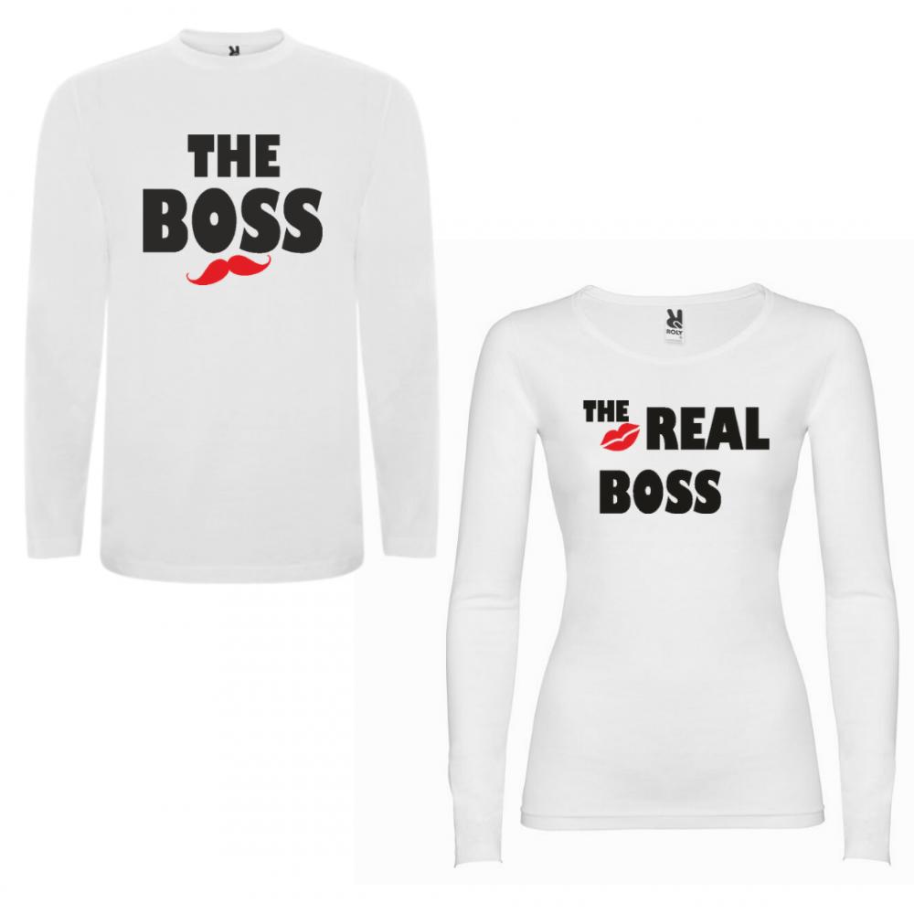 Tricou cu mâneci lungi pentru cupluri The Boss - The Real Boss