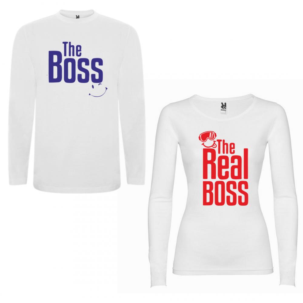 Tricou cu mâneci lungi pentru cupluri The Boss - The Real Boss New