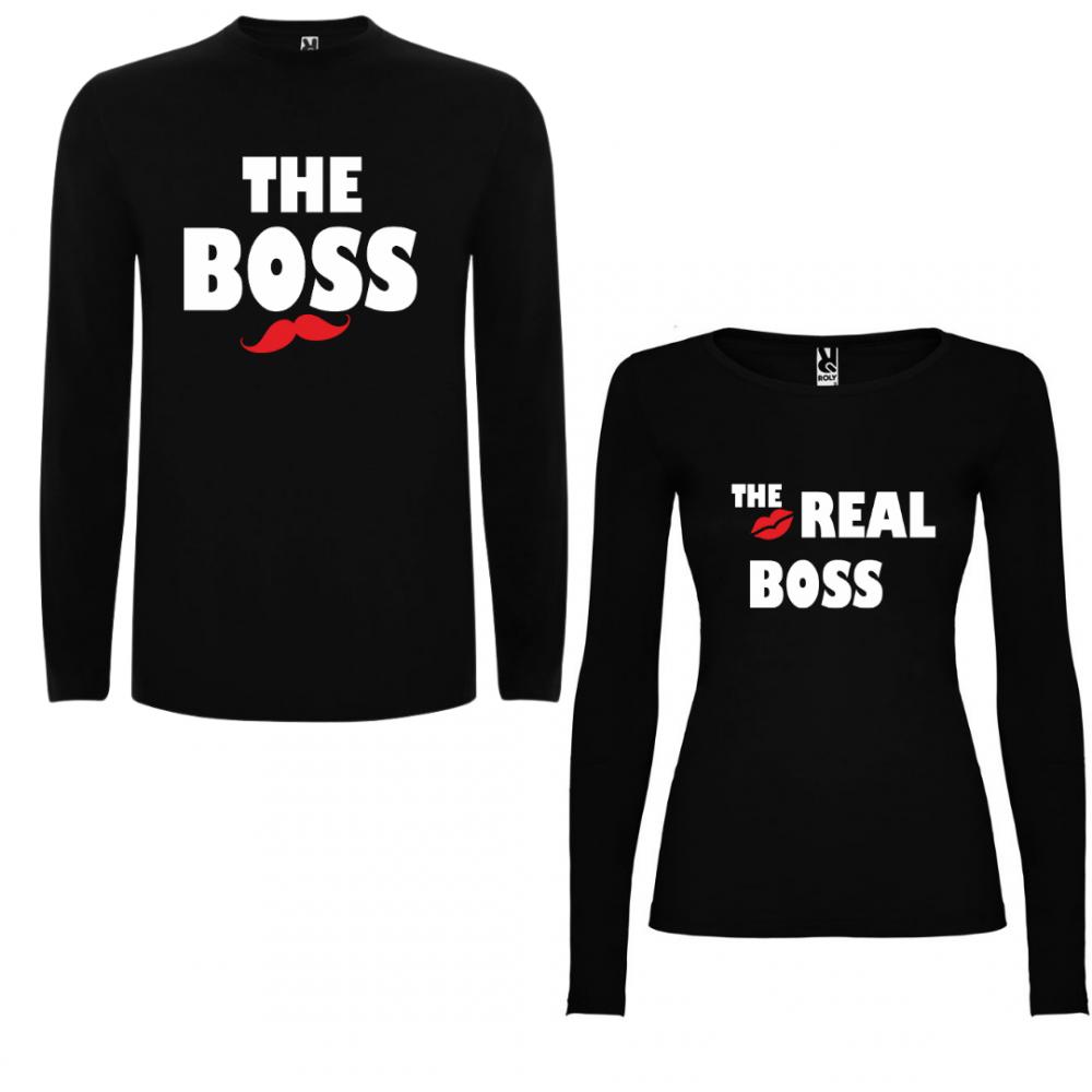 Tricou cu mâneci lungi pentru cupluri The Boss - The Real Boss - negru