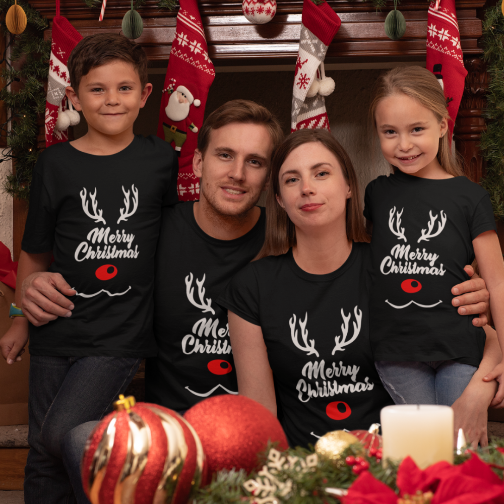 Set tricouri familie de Craciun Merry Deer