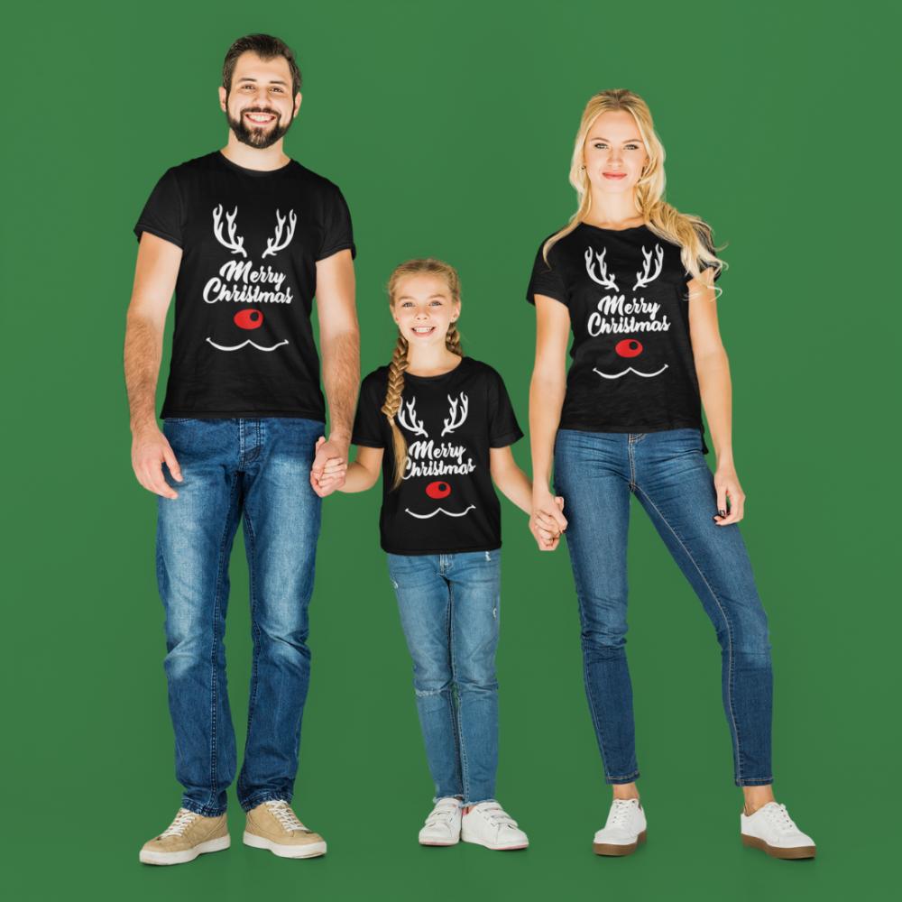 Set familie de Craciun pe negru Merry Christmas