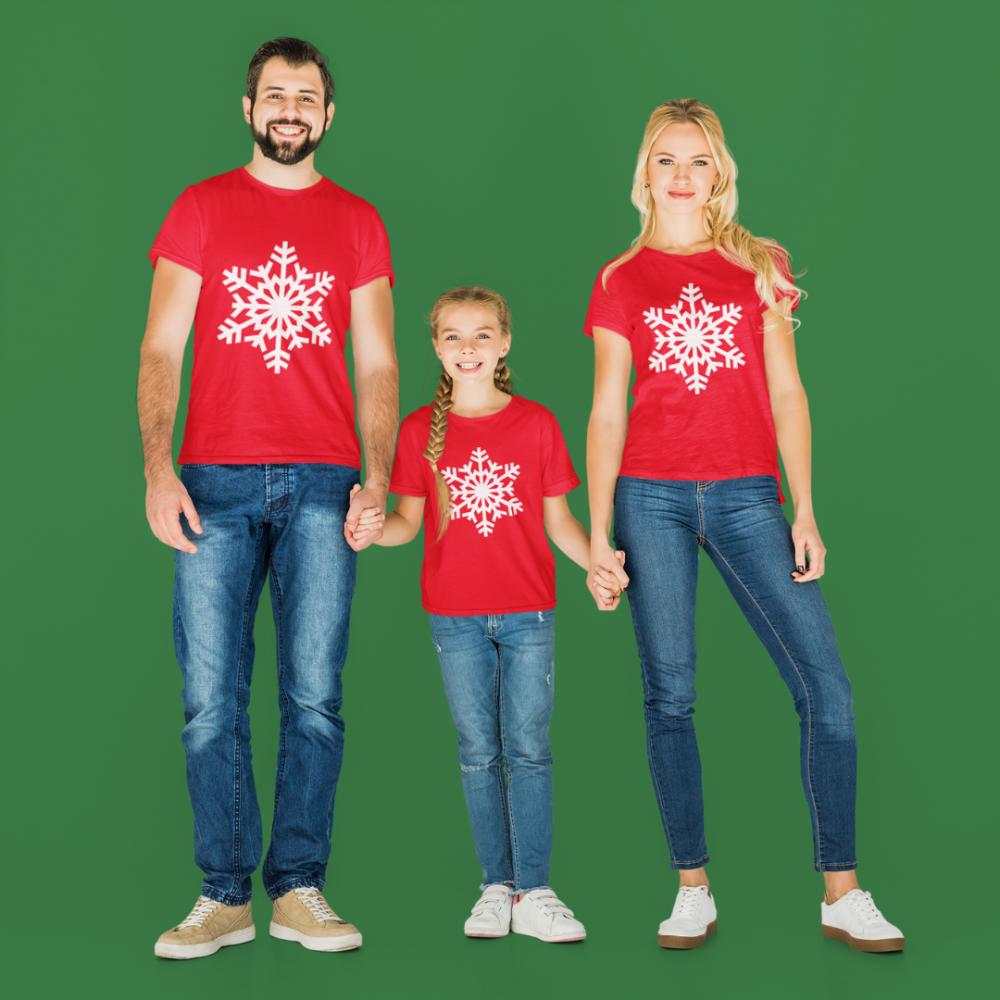 Set familie de Craciun pe rosu SnowFlake