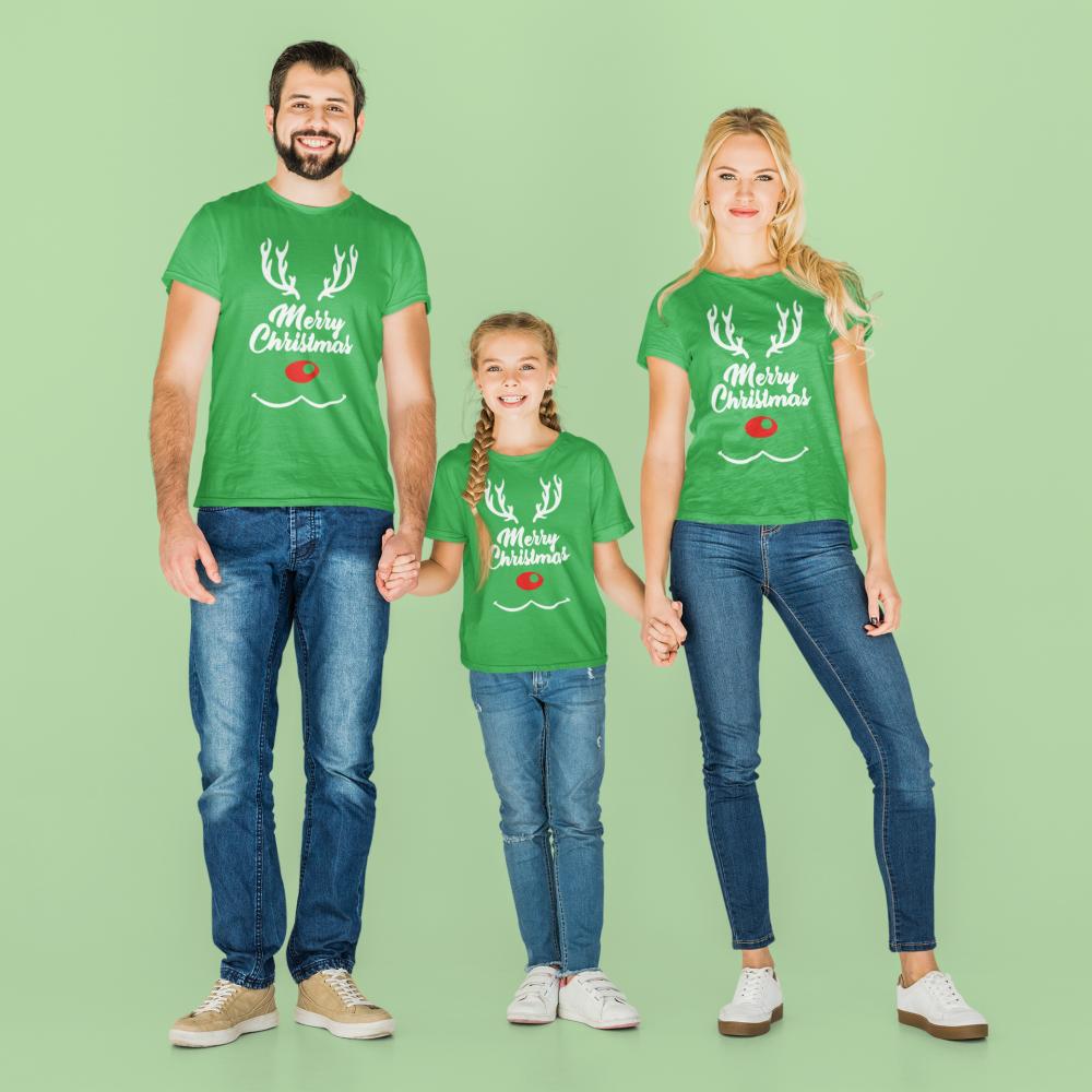 Set familie de Craciun verde Merry Christmas