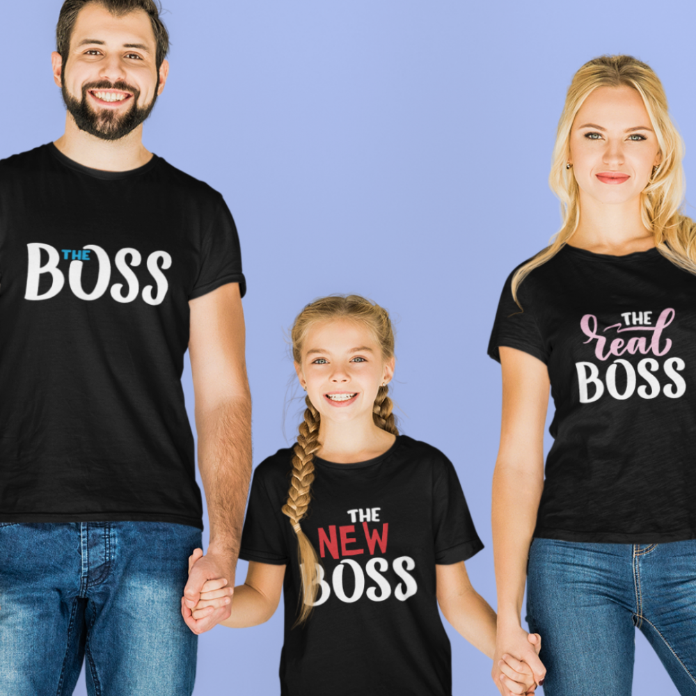 Set tricouri familie pe negru The Boss, The Real Boss and The New Boss