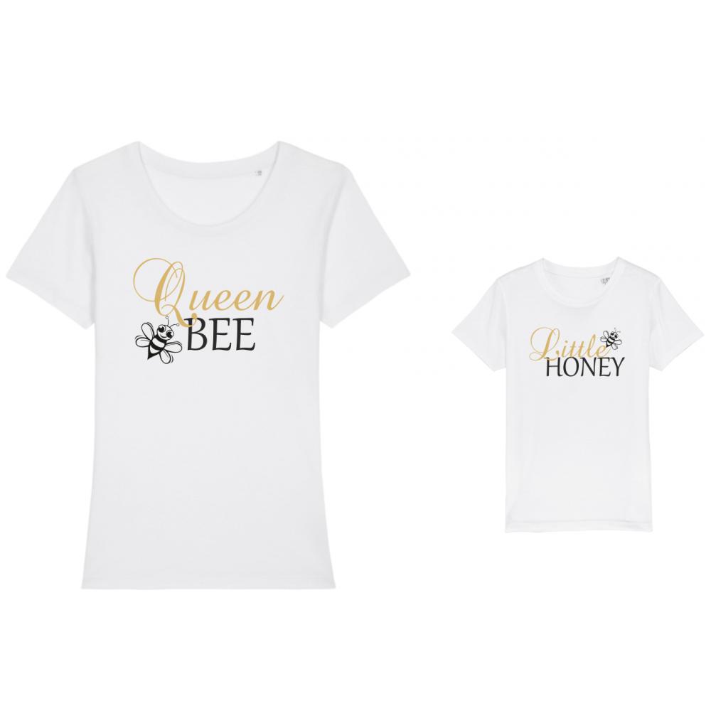 Set tricouri mama si copil Bee Queen
