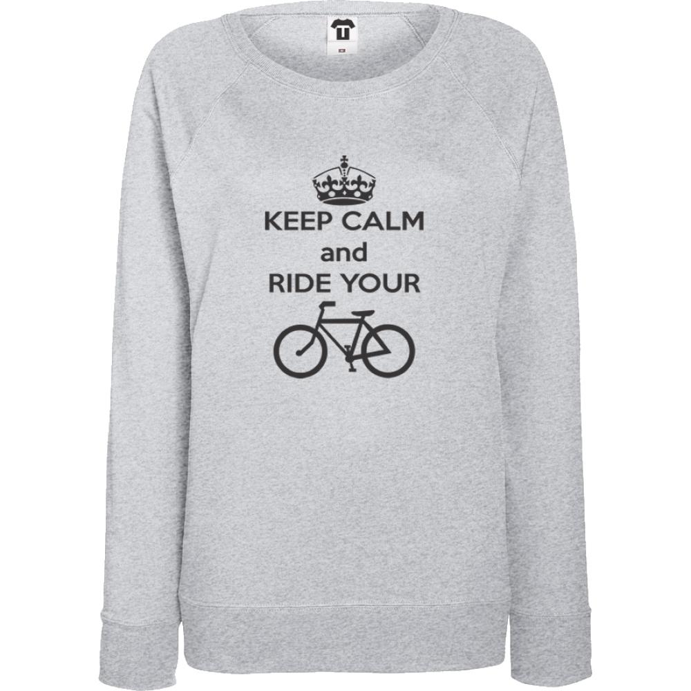 Bluza de dama gri Keep calm and ride your bike