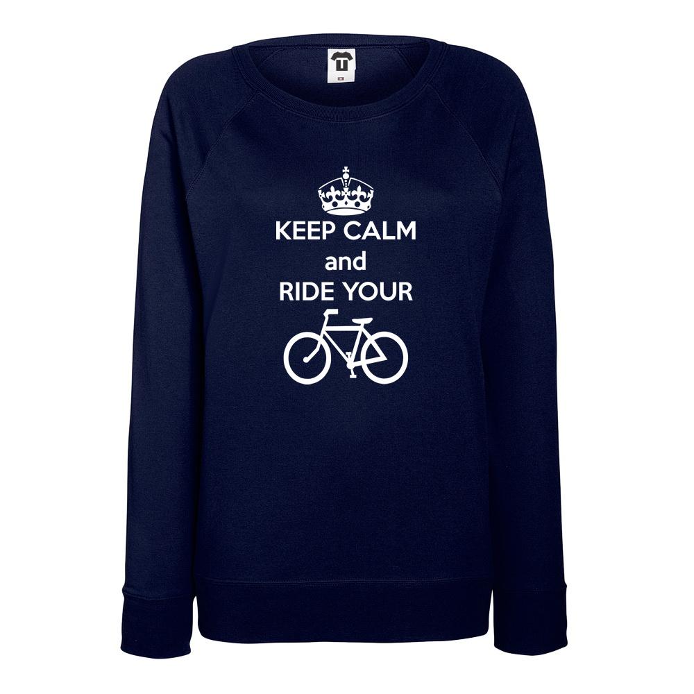 Bluza de dama albastru inchis Keep calm and ride your bike