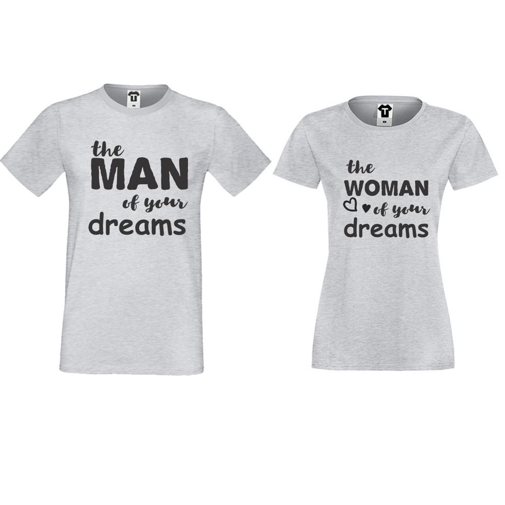 Tricouri pentru cuplu gri The man/The woman of your dreams