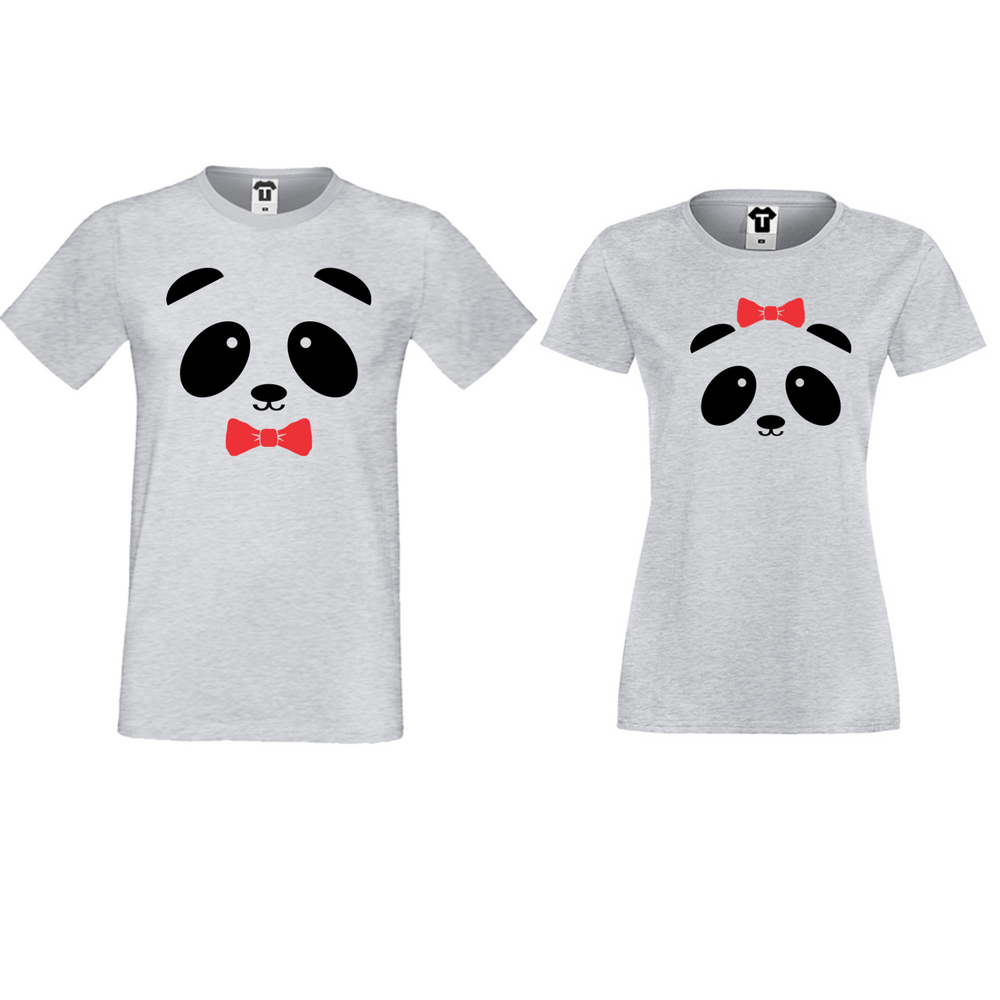 Tricouri pentru cuplu gri Sweet Panda