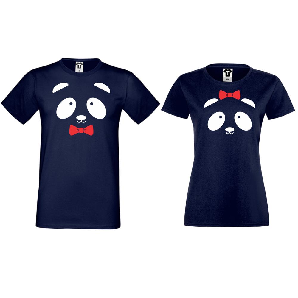 Tricouri pentru cuplu albastru inchis Sweet Panda