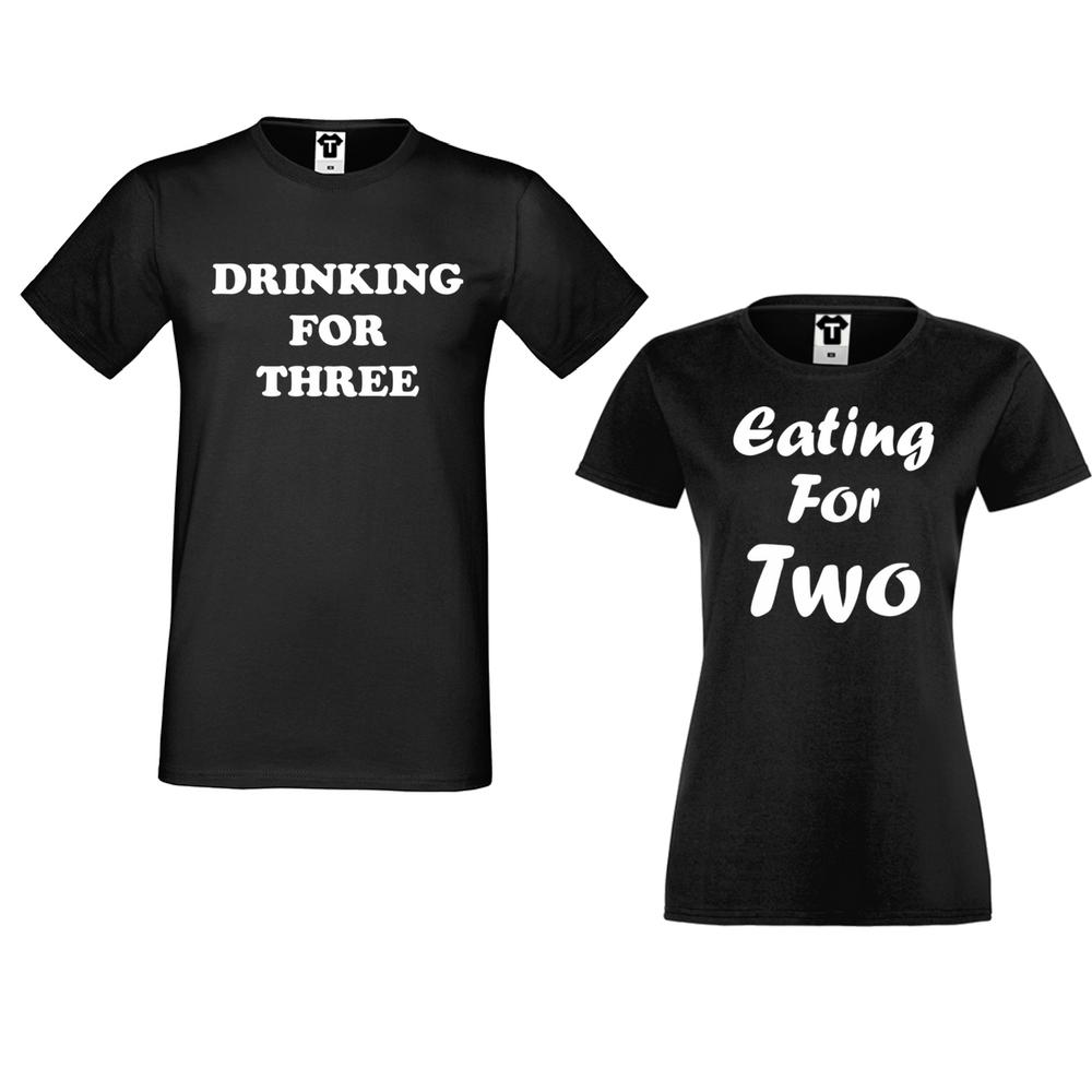 Tricouri pentru cuplu negru Drinking for three and Eating for two