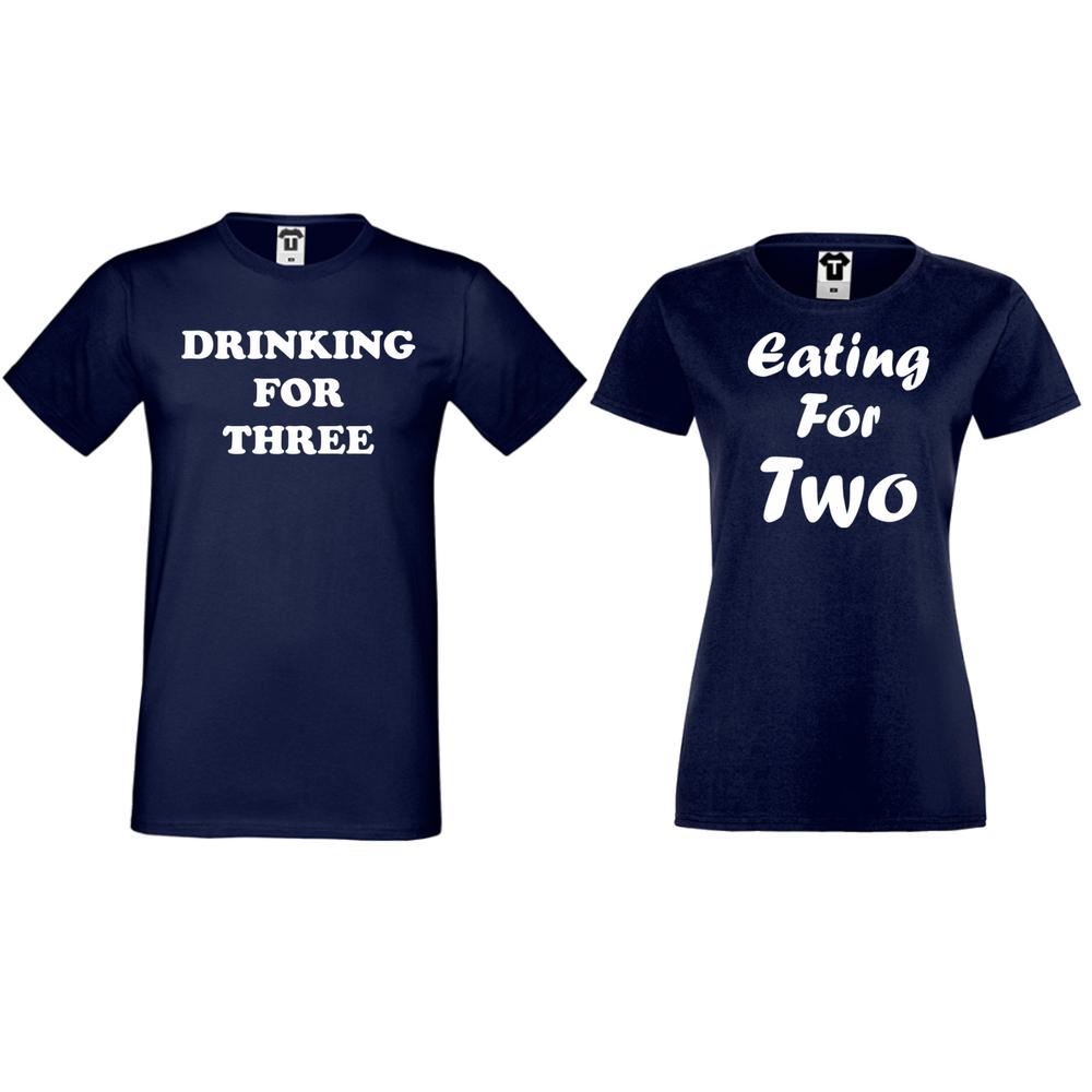 Tricouri pentru cuplu albastru inchis Drinking for three and Eating for two