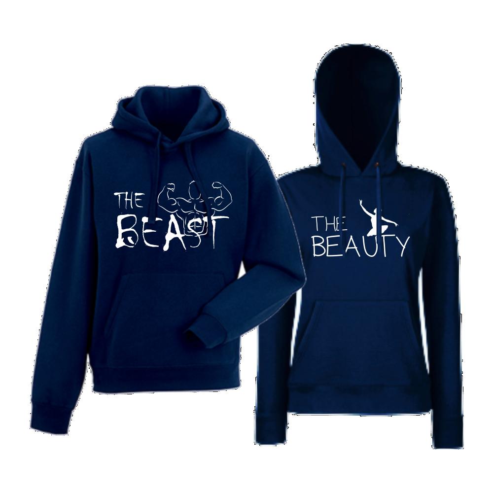 Set hanorace pentru cupluri albastru inchis The Beast and The Beauty