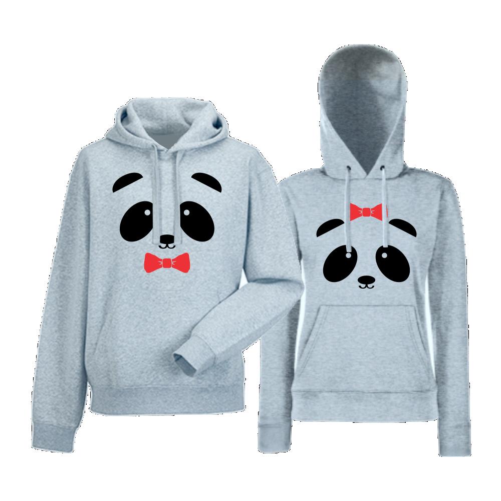Hanorace pentru cuplu gri Sweet Panda