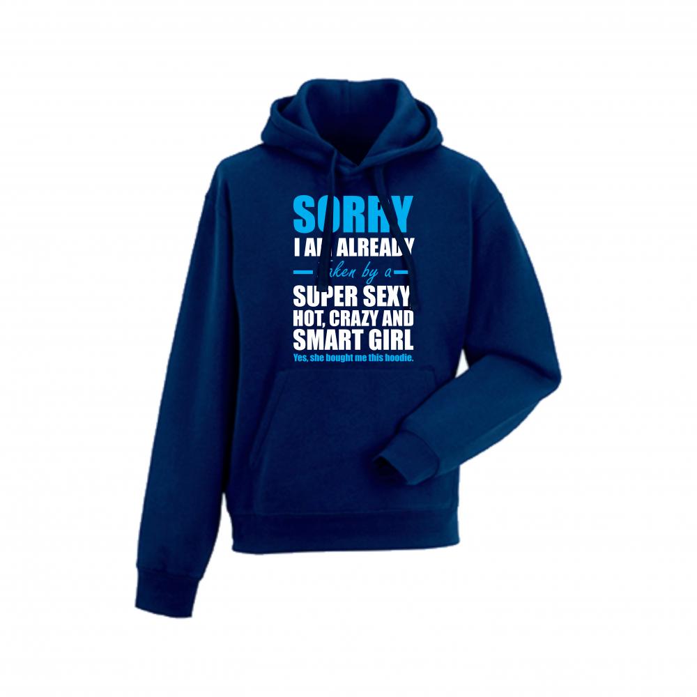 Hanorac de barbati albastru inchis Taken by Super Sexy, Hot, Crazy and Smart