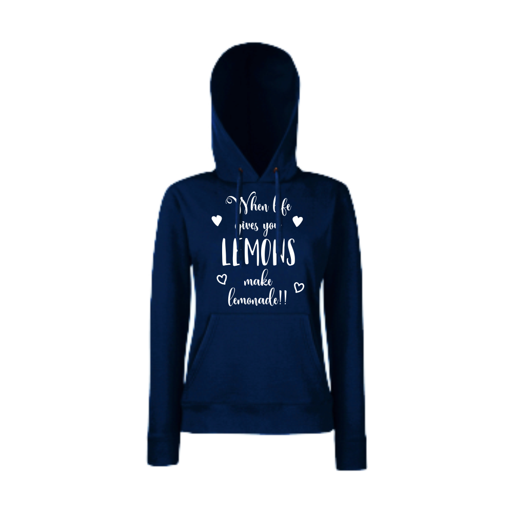 Hanorac de dama albastru inchis When life gives you lemons make lemonade