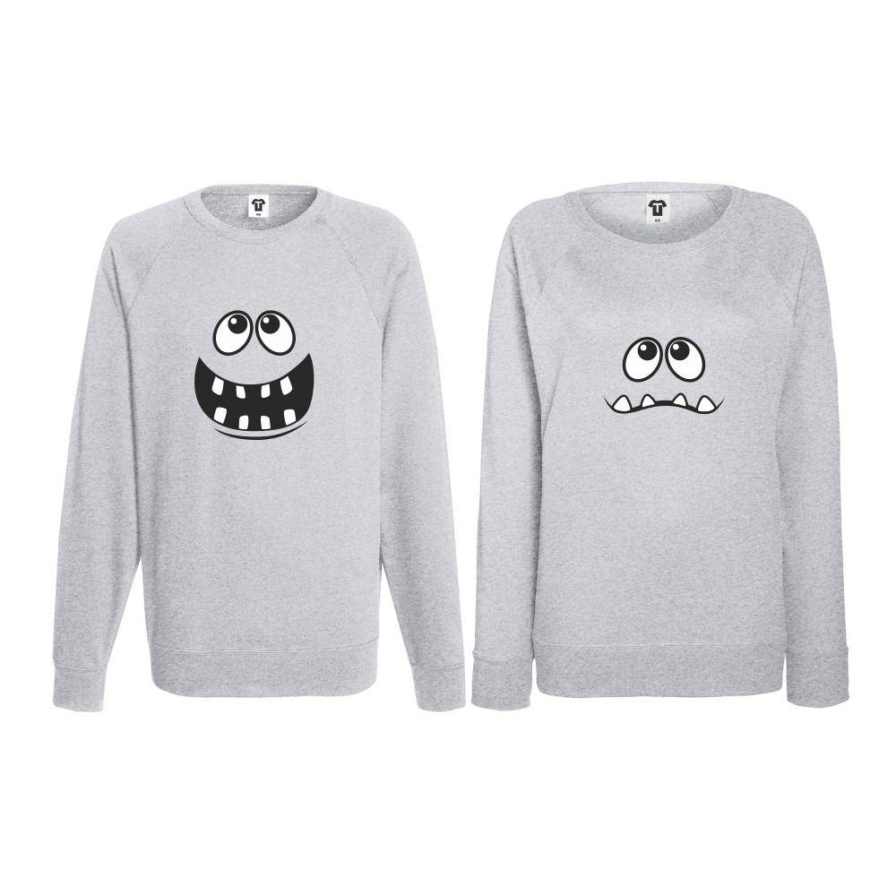 Set bluze pentru cupluri Full Smile gri