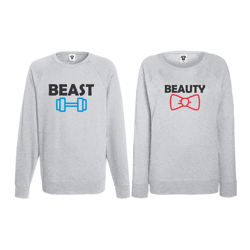 Set bluze pentru cupluri Beast and Beaty gri