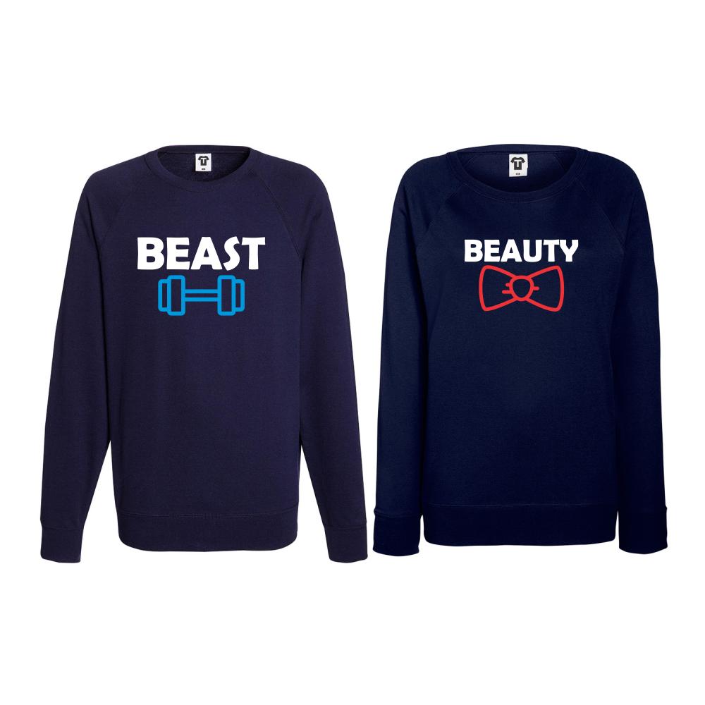 Set bluze pentru cupluri Beast and Beaty albastru inchis