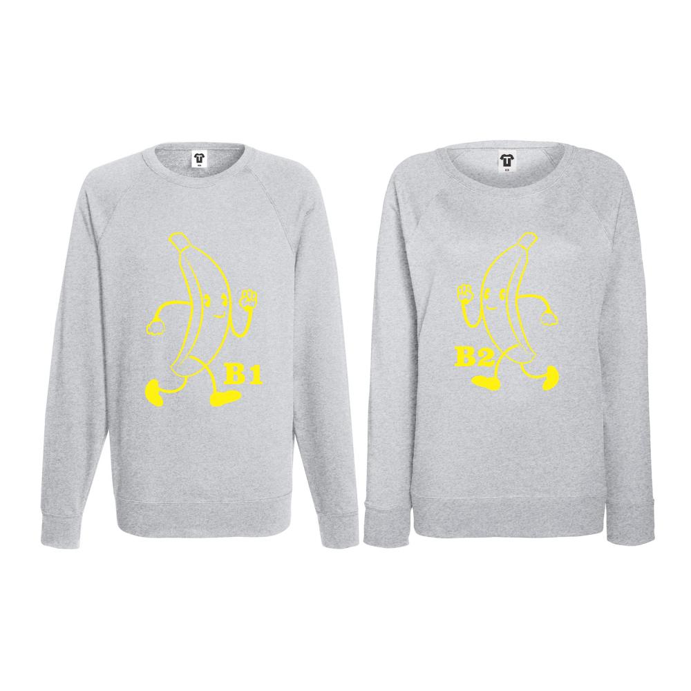 Set bluze pentru cupluri Bananas gri