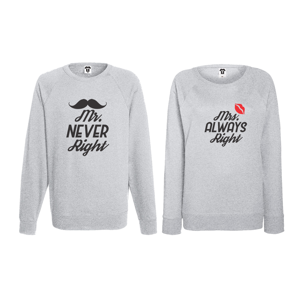 Set bluze pentru cupluri Mr Never Right and Mrs Always Right
